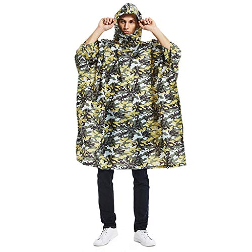 ❤️Jonerytime❤️Military Tactical Multifunction Raincoat Poncho Cover Tent Hiking Rainwear (A)