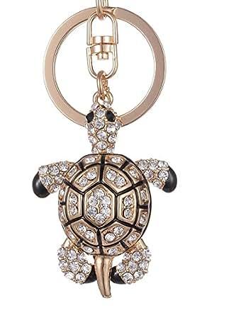 Giftale Tortoise Keychain for Women Cute Bag Charms Crystal Rhinestone Pendant Car Key Ring
