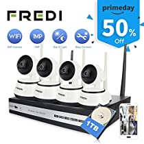 FREDI 4CH HD 720P Wifi Camera Indoor Home Security Camera System CCTV Kit Wireless IP Camera System Night Vision Pan/Tilt Motion Detection(+1TB HDD)