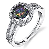 Metal Masters Co.® Round Cut Mystic Rainbow Simulated Topaz Halo Ring Sterling Silver with Cubic Zirconia Sizes 5 to 9