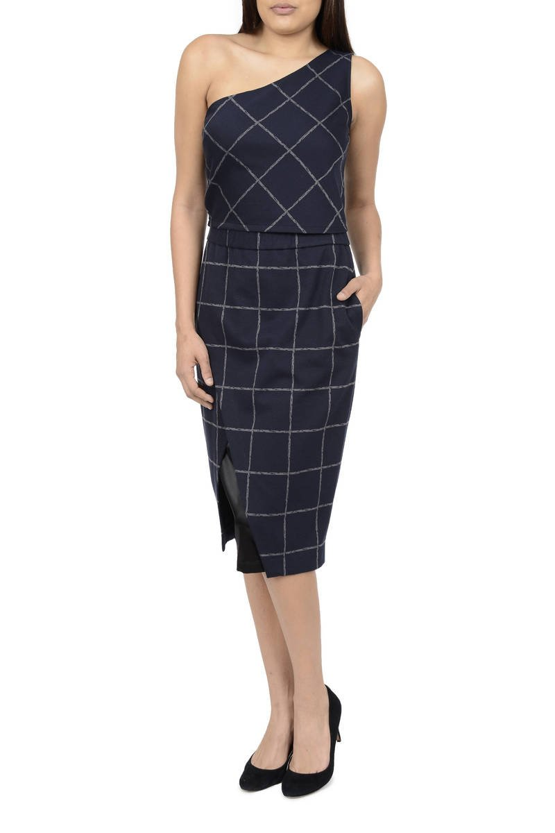 LM StyleBar Windowpane Faux Wrap Pencil Skirt Size Small, Color Navy/Grey
