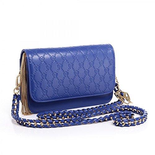 Greg Michaels Jasmin Royal Blue Embossed Signature Handbag Purse Shoulder Bag