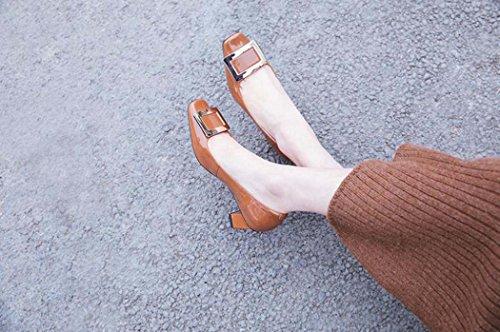 39 Negro Rosa Cuadrado Sandalias Blanco Marrón Tamaño 34 Marrón 37 Color Tallas Tacón Zapatos de Alto de Tacón wxBzOSBn4W