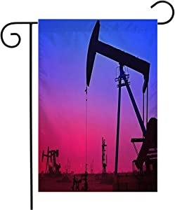 Welcome Garden Flag Vertical Beautification Oil Tools Gasoline Drilling Rig Tanghai in Sunsets County Hebei Power Parks Outdoor Yard Outdoor Decorative 12 x 18 Inch