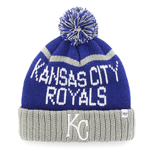 MLB Kansas City Royals '47 Linesman Cuff Knit Beanie with Pom, One Size, Royal -