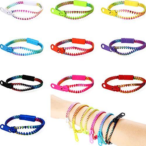 40 Pieces Zipper Bracelets Set Friendship Fidget Bracelets Sensory Toys Bulk Set for Birthday Kids Party Favors, 10 Colors
