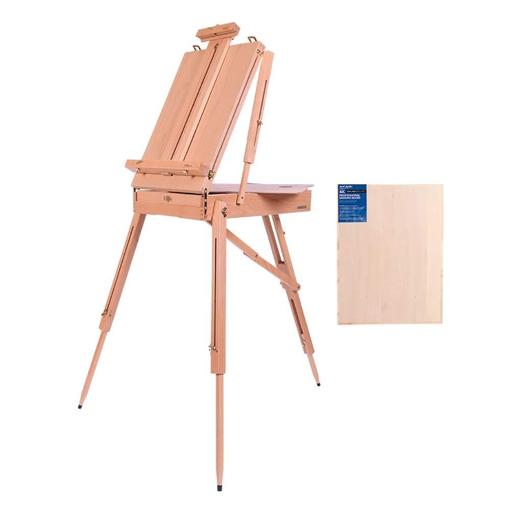 ポータブル木製イーゼル4K製図板スケッチボックスポータブル折りたたみ式屋内屋外アーティスト画家三脚、耐久性と固体   B07QJ1VLSS