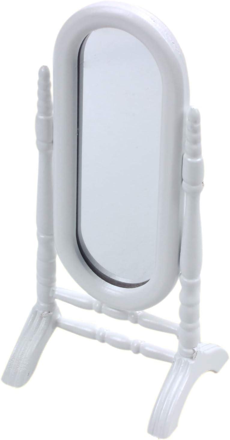Moligh doll 1 12 Maison de poupees Miniature Bois Blanc Chambre Meubles Lit Miroir de Commode