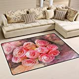 Happy Valentines Day with Rose Flowers Decorative Area Rug Pad Non-Slip Kitchen Floor Mat for Living Room Bedroom 5′ x 7′ Doormats Home Decor For Sale