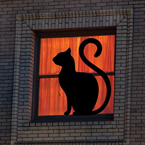 Halloween Decal - Vinyl Wall Art Black Cat Silhouette for Halloween Party, Haunted House Decorations, Black Cat Ornament, Halloween Decor]()