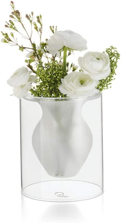 Philippi Vase en Verre givr/é Esmeralda Transparent S