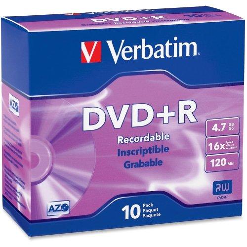 "Verbatim America, Llc - Verbatim 95097 Dvd Recordable Media - Dvd+R - 16X - 4.70 Gb - 10 Pack Slim Case - 2 Hour Maximum Recording Time ""Product Category: Storage Media/Optical Media"" from Verbatim"