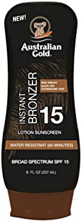 product image for Australian Gold Sunscreen Lotion with Instant Bronzer SPF 15, 8 Ounce | Broad Spectrum | Water Resistant | Non-Greasy | Oxybenzone Free | Cruelty Free