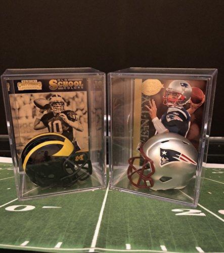 Tom Brady College and Pro Helmet Shadowbox w/card Set of 2 (Tom Brady Mini Helmet)