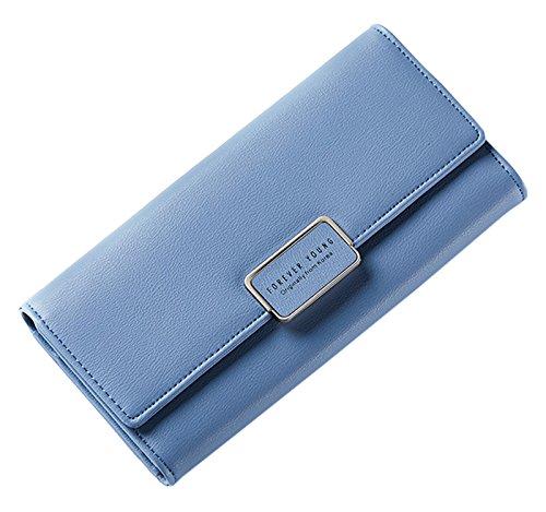 New Purple Holder Leather Case Clutch Pu Womens Wallet Blue Purse SAIERLONG d87Ed
