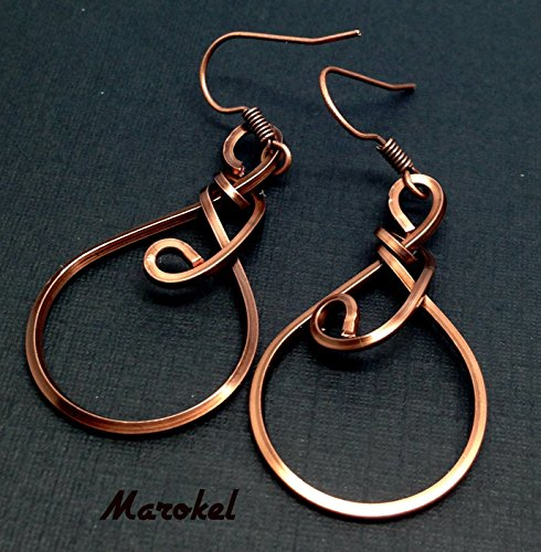 Kuchina Copper Earrings Small Wire Wrapped (Earrings Square Wire)
