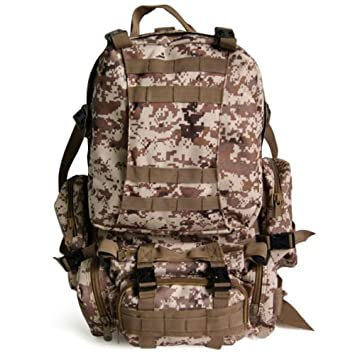 e0614bb950ac TOOGOO(R) 50 L 3 Day Assault Tactical Outdoor Military Rucksacks Backpack  Camping bag - Desert Digital  Amazon.co.uk  Sports   Outdoors