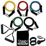 Protone resistance bands set - 5 tube set with handles, door anchor, ankle straps and carry bag for home fitness / travel fitness / strength