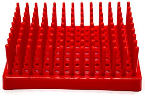 (Red Plastic Test Tube Peg Drying Rack Holds 96 13mm Test Tubes - Eisco Labs)