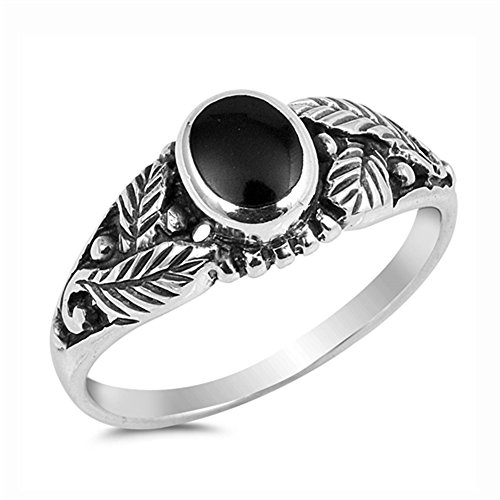 Oval Leaf Ring (Simulated Black Onyx Oxidized Leaf Oval Solitaire Ring 925 Sterling Silver Band Size 8)