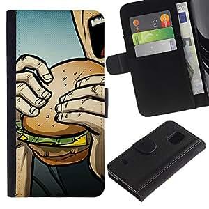 KLONGSHOP // Tirón de la caja Cartera de cuero con ranuras para tarjetas - Arte pop de Burger - Samsung Galaxy S5 V SM-G900 //