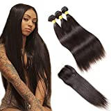 Best Hair Bundles With Free Parts - Brazilian Straight Hair Bundles with Closure, 18 20 Review