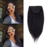 hair clip in human hair kinky straight clip in hair extensions afro kinky clip in natural black hair extensions black hair extensions clip in 10''-24'' 7 Pcs (80g 14'', Natural Black)