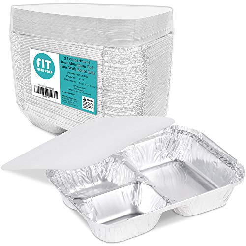 3 Compartment 8.5 x 6.5 x 1.5 Rectangular Disposable Aluminum Foil Pan Take Out Food Containers with Flat Board Lids, Hot Cold Freezer Oven Safe [50 Pack]