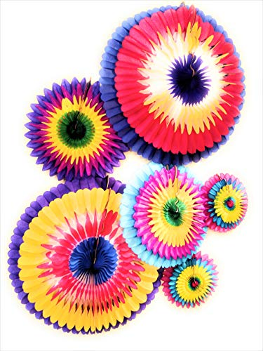 Paper Flowers Decorations | Six (6) Multiuse Easy to Display All Occasion Tissue Paper Flowers | 28, 20 and 13 Inch Diameter Paper Fan Flowers Décor