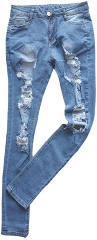 Junkai Mujer Vaqueros Rotos Moda Cintura Media Slim Fit Denim Pantalones Con Bolsillos Straight Casual Jeans Pantalones Largo S 2xl Amazon Es Ropa Y Accesorios