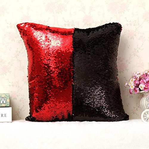 16' Decorative Throw Pillow - YJBear European Red and Black Paillette Satin Square Pillow with Invisible Zipper Cotton Linen Decorative Cushion Throw with Filler Two-color Home Decor for Bench/Couch/Sofa 16 X 16''