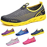 Peregrine Men Women's Water Shoes Barefoot Quick-Dry Aqua Shoes for Swimming,Yoga,Beach Sports,Surfing,Diving Gray Yellow 40