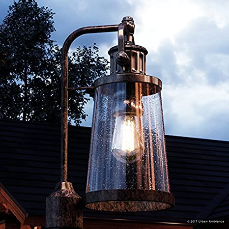 Luxury Vintage Outdoor Post Light Large Size 20 5 H X 8 5 W With Industrial Style Elements Historic Design Royal Bronze Finish And Seeded Glass