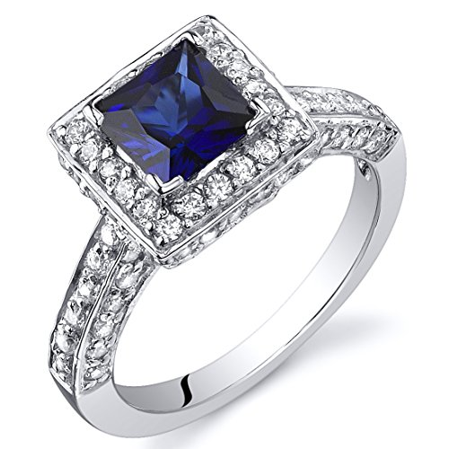 Created Sapphire Princess Halo Ring Sterling Silver Rhodium Nickel Finish 1.00 Carats Size 7