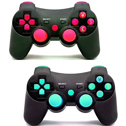 Pad Ps3 Wireless (Pack of 2 PomeMall PS3 Wireless Controller Gamepad Bluetooth Dualshock Joystick Sixaxis Remote for Sony PlayStation 3 PS3 (Red+Blue))