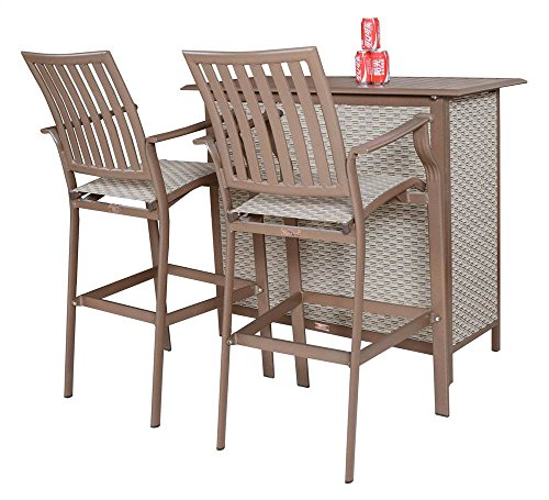Panama Jack Outdoor Island Breeze 3-Piece Slatted Bar Set, Includes 2 Stationary and 30-Inch Barstools and Bar Table price