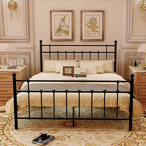 Slat Bedroom Series (HOMERECOMMEND Metal Bed Platform Frame Box Spring Replacement Foundation with Headboards & Hevay Duty Steel Slats, Queen)