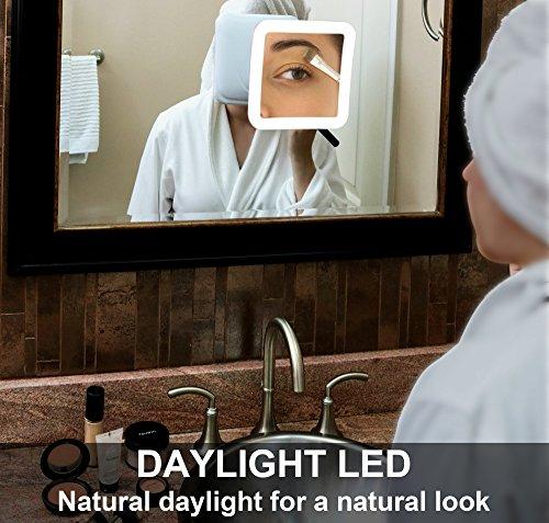 Specchi Ingranditori A Ventosa.Fancii 10x Specchio Ingranditore Per Trucco Con Luce Led E Ventosa Potente Specchio Cosmetico Da Viaggio Illuminato Specchio Da Bagno Portatile