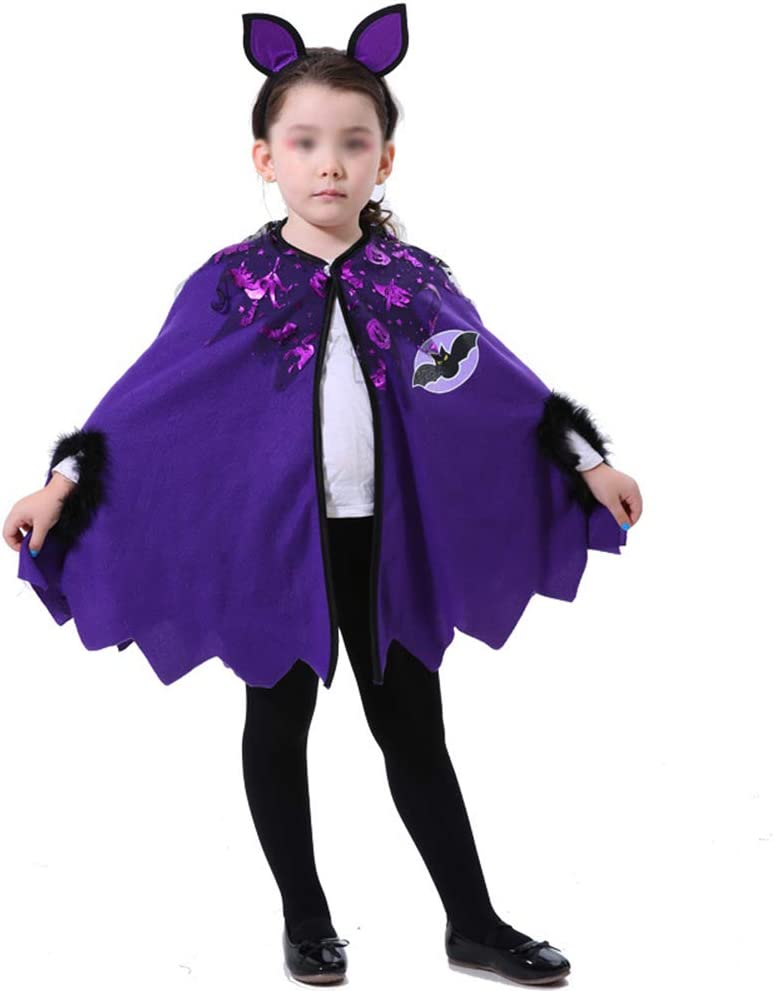 Girls Halloween Witch Costume Bat Witch Cloak Masquerade Dress Outfit Kids Child