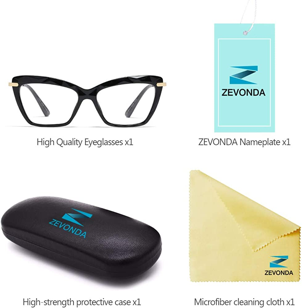 ZEVONDA Occhiali da Vista Donna Classico Vintage Occhio di Gatto Crystal Lente Trasparente Moda Grandi Montatura