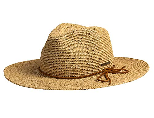 Bellmora Women's Foldable Crochet Raffia Straw Hat Wide Brim Fedora Sun Beach Hat (One Size Fits Most, Natural)