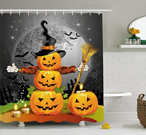 Ambesonne Halloween Shower Curtain, Cute Pumpkins Funny Composition Traditional Celebration Witches Hat Broomstick, Fabric Bathroom Decor Set with Hooks, 84 inches Extra Long, Multicolor -
