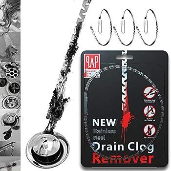 Stainless Steel 20inch Drain Snake Hair Drain clog remover, Drain Hair Cather Shower Drain Hair Trap Drain Cleaning Tool Drain Clog Remover 3 Pack