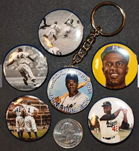 (JACKIE ROBINSON Set of 6-5 Pinback Buttons and Key Chain 1 1/2