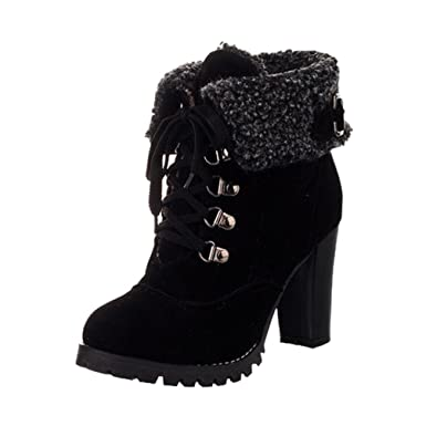 77b2b426730df Aurorax Women Faux Suede Booties,Round Toe Lace Up Ankle Buckle Chunky High  Heel Platform Knight Boots