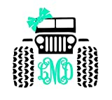 Custom Jeep 4x4 Monogram Decal Sticker for Laptop Locker Car Yeti RTIC Ozark Cooler Tumbler or Cup