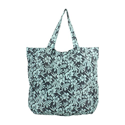 s Girls Convertible Foldable Pouch Tote Bag Cool Hibiscus Blue ()