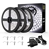 Onforu 15M 50ft LED Strip Lights Kits, IP65 Waterproof Strip Lighting, GS Listed Power Adapter with Switch, 6000K Daylight White 12V LED Rope, Under Cabinet Lighting Strips for Indoors and Outdoors