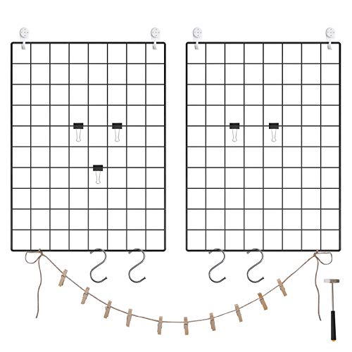 (SONGMICS Grid Panel, Photo Wall Display, Metal Mesh Wall Decor, Multifunctional Hanging Picture Wall, DIY, Art Display, S Hook, Clip, Hemp Cord, Set of 2, Black, ULPP01H)