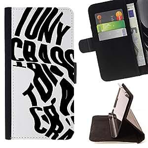 """Bright-Giant (Palabras de la caligrafía del cartel Negro Gris"""") Modelo Colorido Cuero Carpeta Tirón Caso Cubierta Piel Holster Funda Protección Para Apple iPhone 5C"""